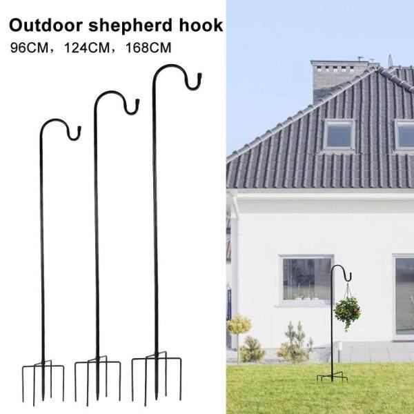 Adjustable Outdoor Shepherd Hook with 5 Prong Base Garden Hanging Stand Holder Plant Hook Outdoor Shepherd Device Bird Feeder Metal Stake