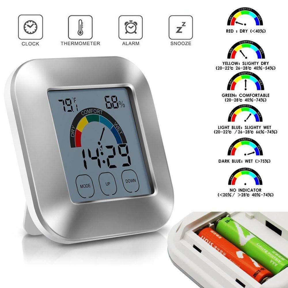 Malonestore เทอร์โมมิเตอร์ในบ้านความชื้น Touchscreen Backlight Timer Digital Display By Malonestore.