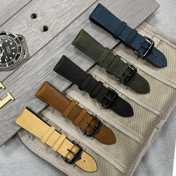 New Design Leather Watch Band Straps 20mm 22mm Watch Accessories Women Men Brown Black Belt Silicone Band Malaysia
