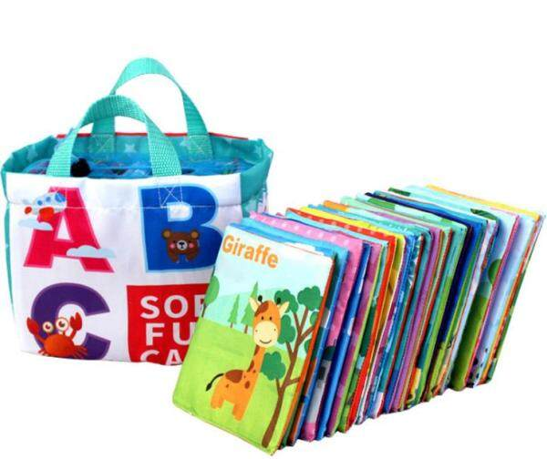 Available 26Pcs Alphabet Cloth Book for Baby Early Educational Toy Double-faced Color A-Z Letter Words Learning Soft Fun Card with Storage Bag Malaysia