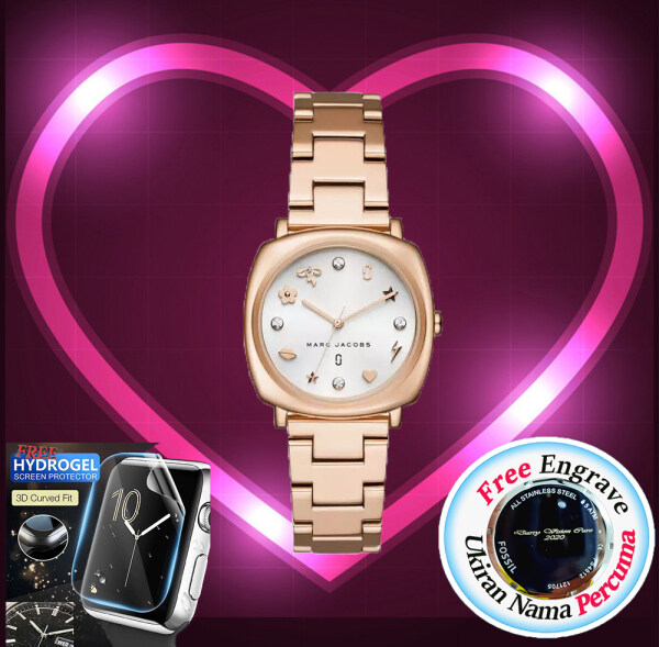 [FREE ENGRAVE]Marc Jacob Mandy Rose Gold  Stainless Steel 34mm Women Watch MJ3574 with 2 year warranty Malaysia