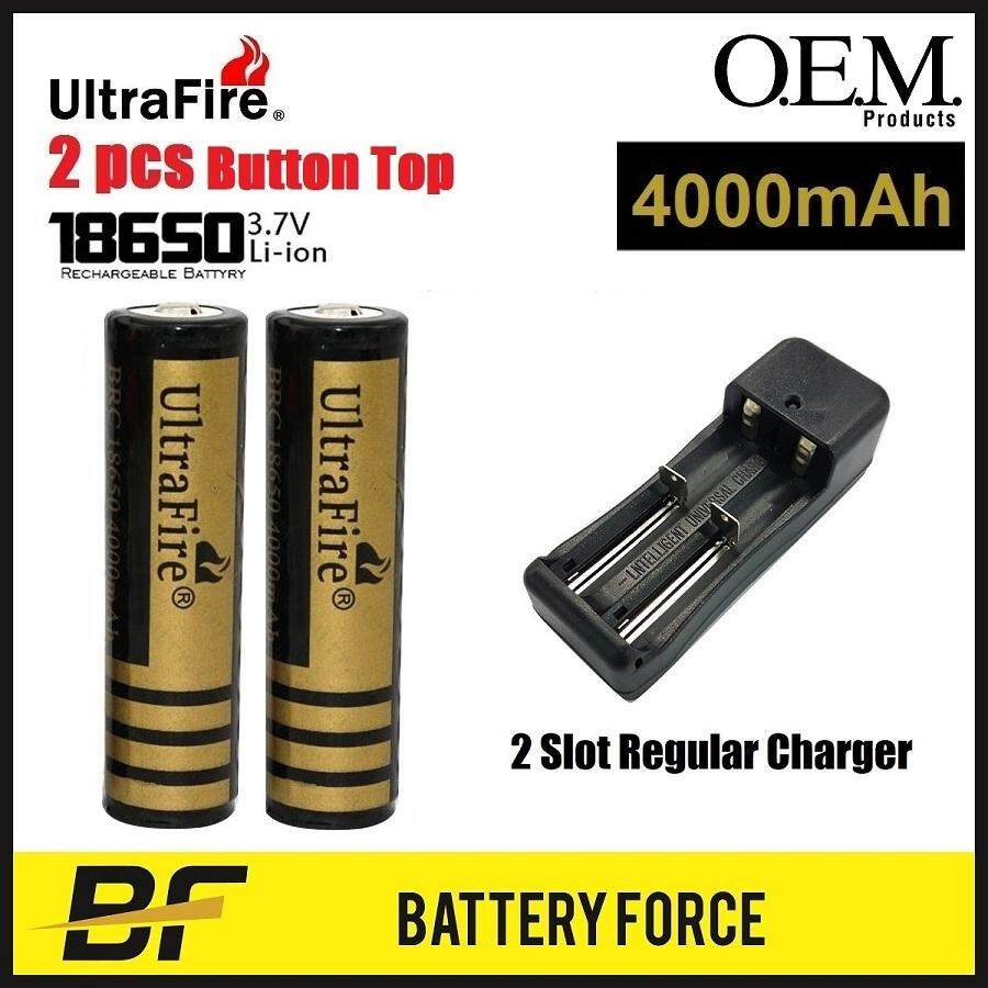 Combo 3.7V 18650 UltraFire 4000mAH Button Top Rechargeable Lithium Ion Battery BRC With 2 Slot Charger