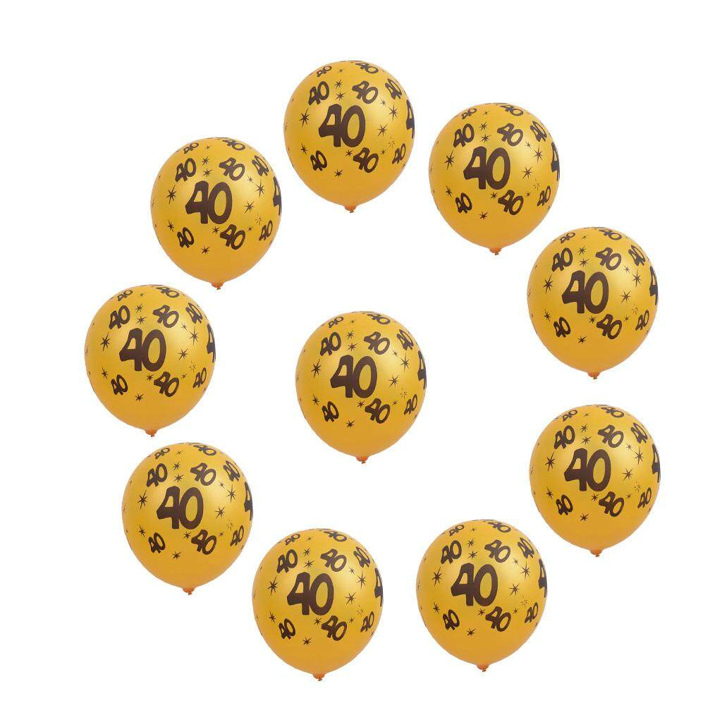 GuangquanStrade 10/set Gold Latex Balloons 30/40/50 Number Prints Birthday Party Decoration