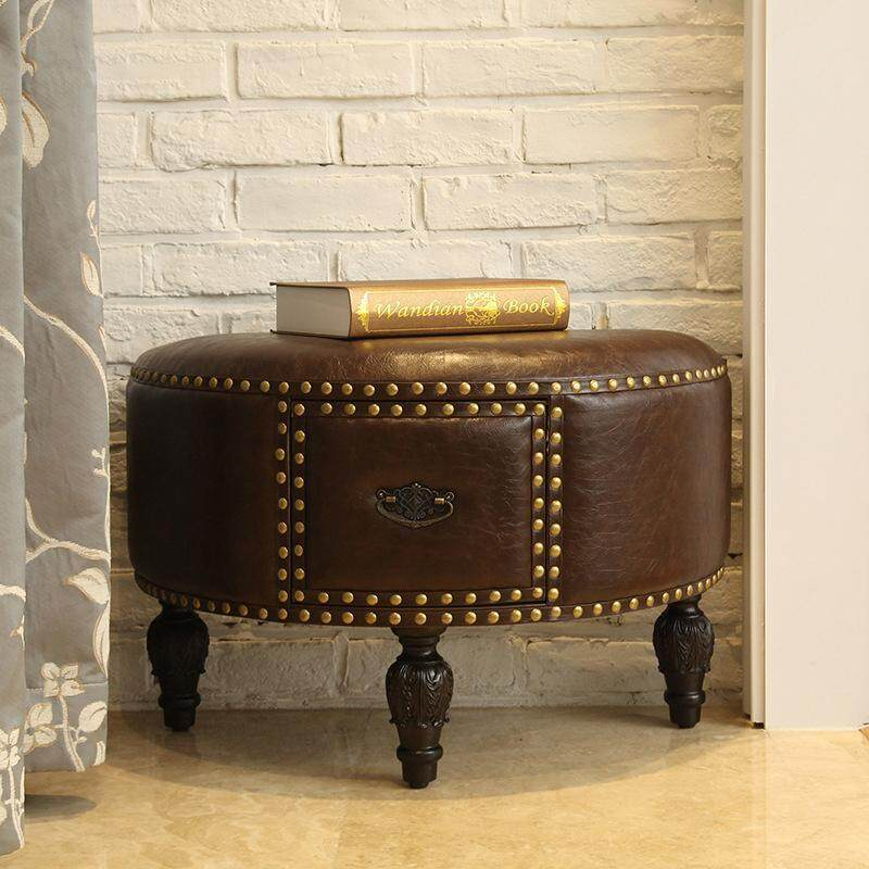 Shoe Stool Leather Chair American Style By Olive Al Home