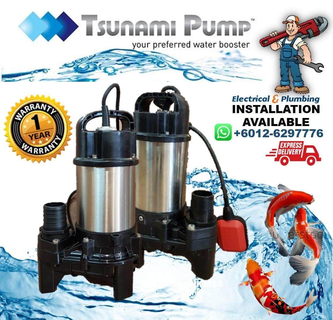 TSUNAMI MULTIPURPOSE Fish Pond Submersible Water Pump/ Landscaping/ Water Feature Pump, MUS150 (150W)**Installation Available
