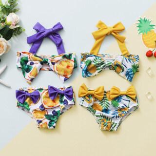 2 Bộ Đồ Tắm Cho Bé Dây Buộc In Hình Quả Dứa Áo Bikini + Quần Bơi Bowknot Đặt thumbnail