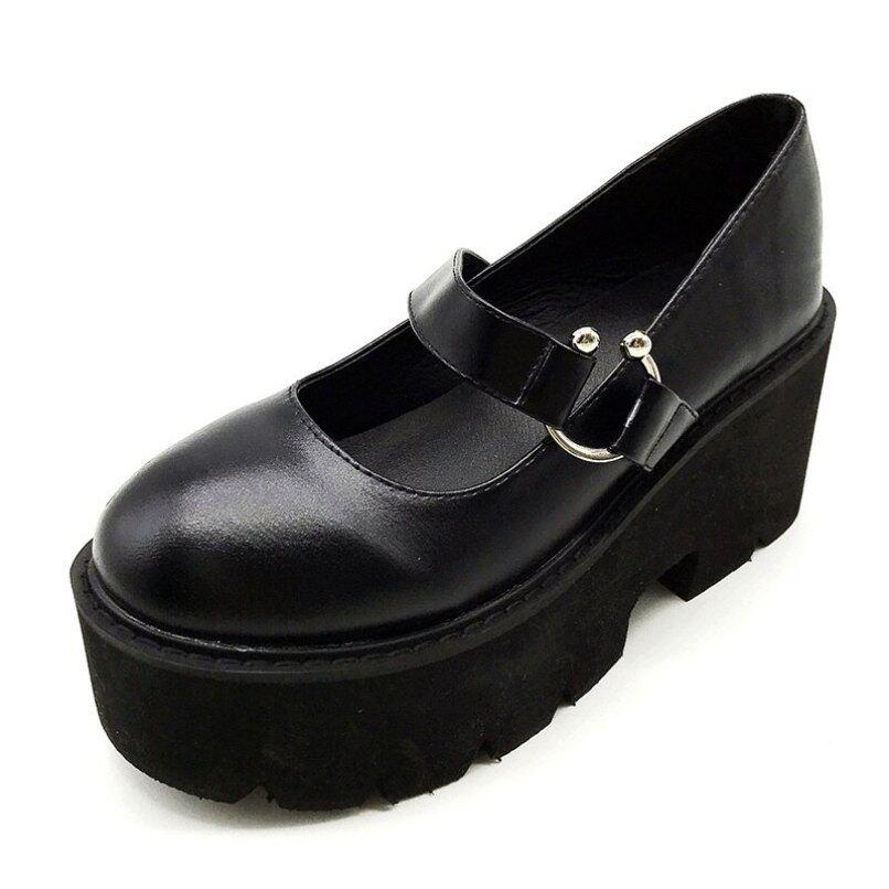Gdgydh mùa xuân mùa thu Chunky gót Vintage Lolita Giày phụ nữ nền tảng giày Mary Jane khóa dây đeo Giày đi học cho cô gái màu đen giá rẻ
