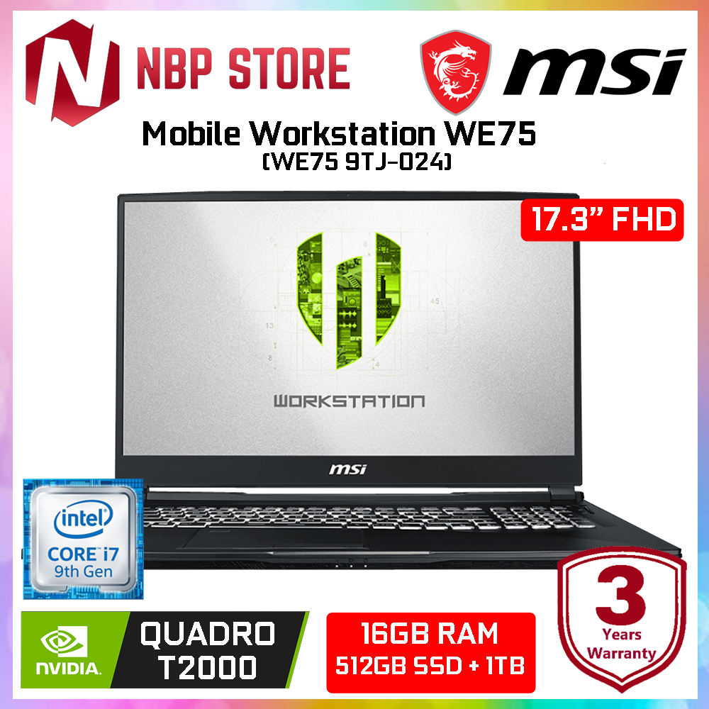 MSI Mobile Workstation WE75 9TJ-024 17.3  FHD Laptop ( i7-9750H, 16GB, 512GB + 1TB, Nvidia Quadro T2000 4GB, W10P ) Malaysia
