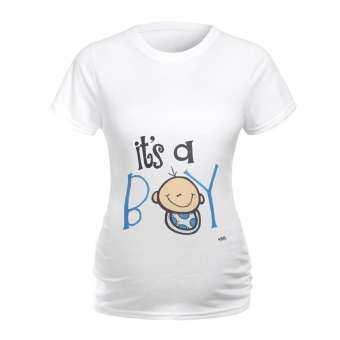 BLWorld ผู้หญิงเสื้อคลุมท้องแขนสั้น Letter พิมพ์เสื้อยืดเสื้อผ้าสำหรับสตรีมีครรภ์-