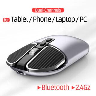 Bluetoth Chuột Không Dây Chế Độ Kép 5.1 2.4Gz Cho iPad 7 8 Pro iPhone 11 12 X Máy Tính Xách Tay Máy Tính Bảng Macbook Phổ Biến Điều Chỉnh 3 Cấp Độ 1600 DPI 500mhA Có Thể Sạc Lại thumbnail
