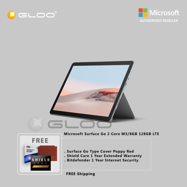 Microsoft Surface Go 2 Core M3/8GB 128GB LTE TFZ-00007 + Surface Go Type Cover [Choose Color] + Shield Care 1 Year Extended Warranty + Bitdefender 1 Year Internet Security Malaysia