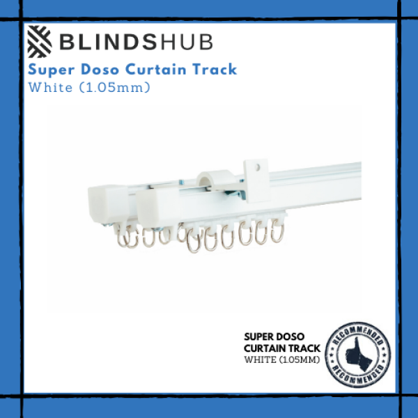 BLINDSHUB High Quality Super Doso Double Layer Wall-Mounted White Curtain Track 1.05 mm