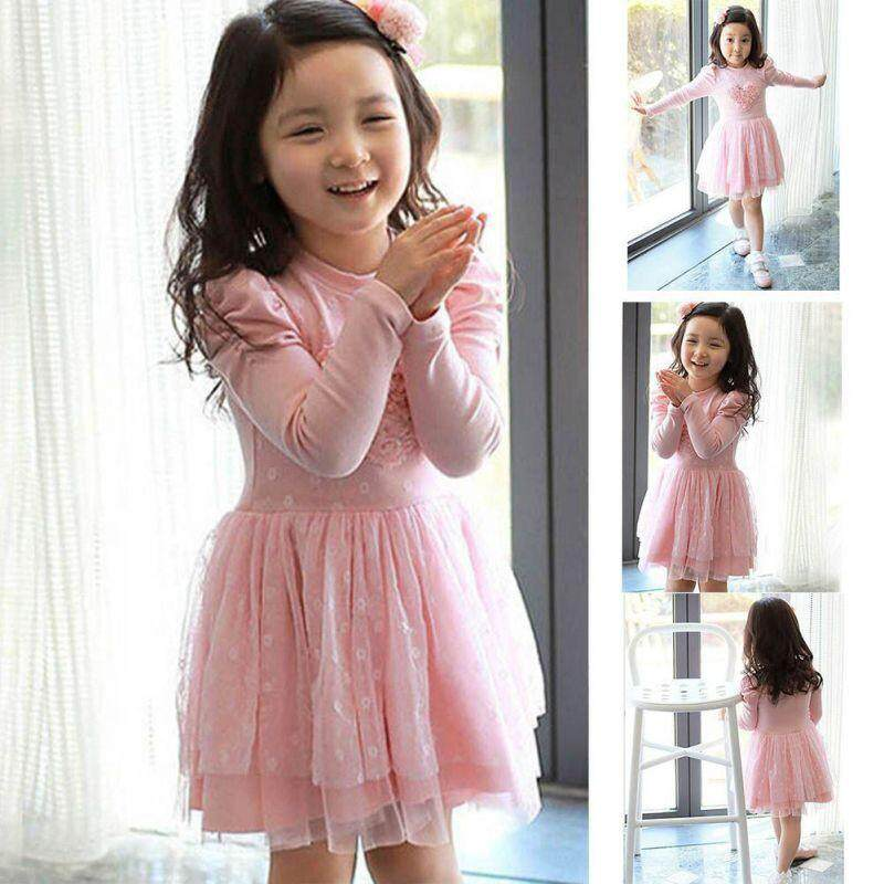Kids Girls Pink Party Mini Long sleeve Dress Mini Dresses [SP] BW