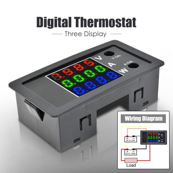 [In Stock] Original Multicolor 4 Digit High Precision Digital DC 100V 10A 1000W LED Voltage Current Power Volt Current Amp Meter