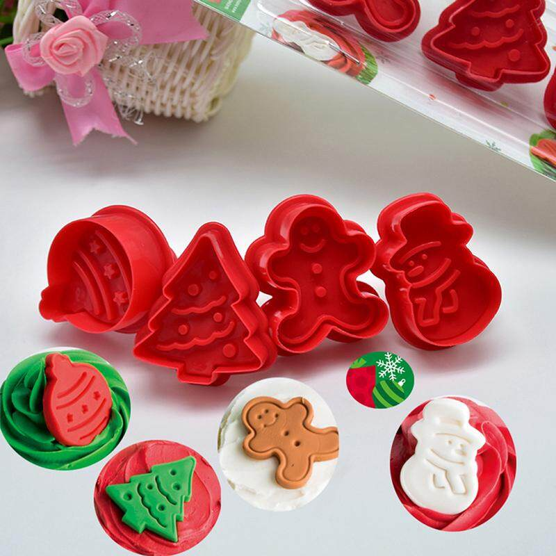 4Pcs Christmas Cookie Biscuit Plunger Cutter Mould Fondant Cake Mold Baking