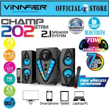 VINNFIER Champ 202 BTRM 2.1 Speaker with Karaoke System, Bluetooth, FM Radio, USB ,SD Card Slot ,Remote Control and 1 wireless Microphone Malaysia