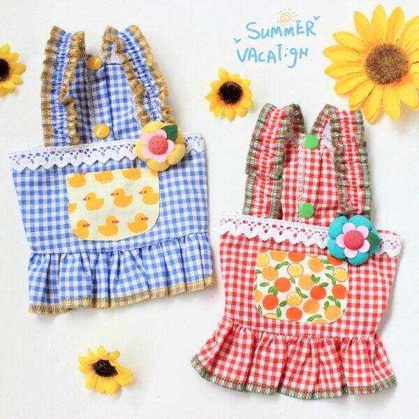 Jianjia28 phong cách Hàn Quốc 2 màu sắc mùa hè kẻ sọc vịt chanh Sling chó ăn mặc Mèo Ăn mặc tutu Quần Áo Nữ Pet trang phục