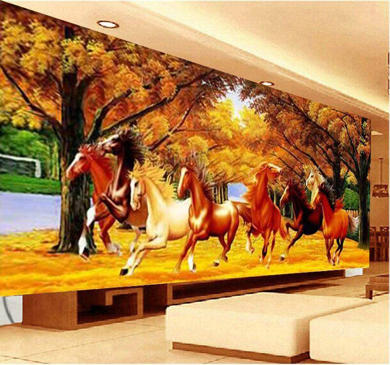 Full Round Drill 5D DIY Diamond Painting gold Full of land Horse to Success Eight horsesog  Embroidery Cross Stitch 5D Home Decor Gift