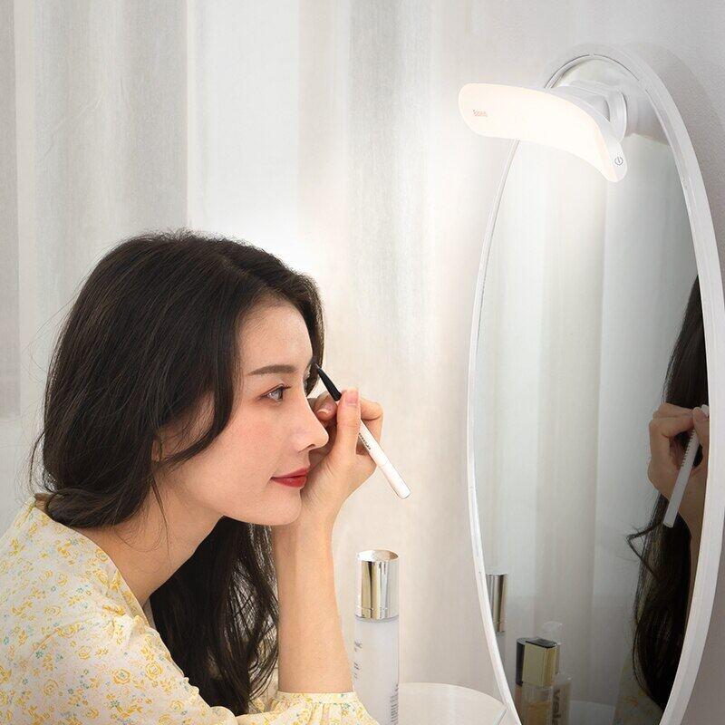 Gương Trang Điểm Baseus Có Thể Điều Chỉnh, Đèn LED Gắn Tường Sạc USB, Dùng Cho Phòng Tắm, Phòng Ngủ, Bàn Trang Điểm