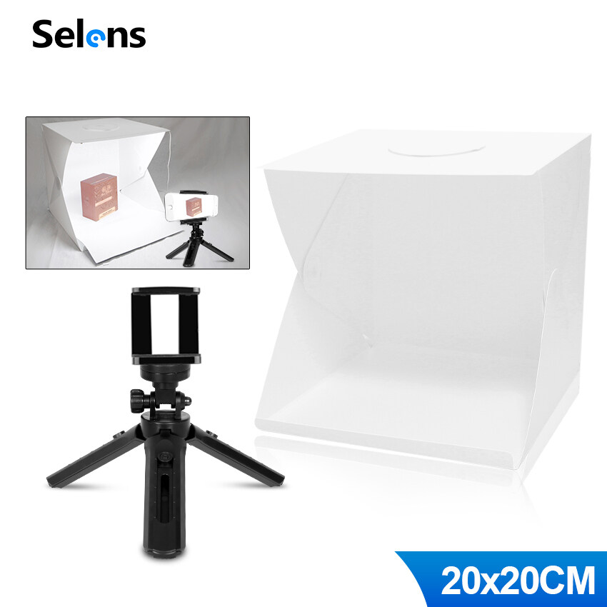 Selens Light Room Tent Studio Softbox + Mini Tripod Indoor Photography Kit Folding Studio Light Box Table Top Stand And Grip Gimble Stabilizer For Digital Camera Dslr Phone Tripod Cellphone Iphone Huawei Xiaommi Gourmet Still Life Photography.