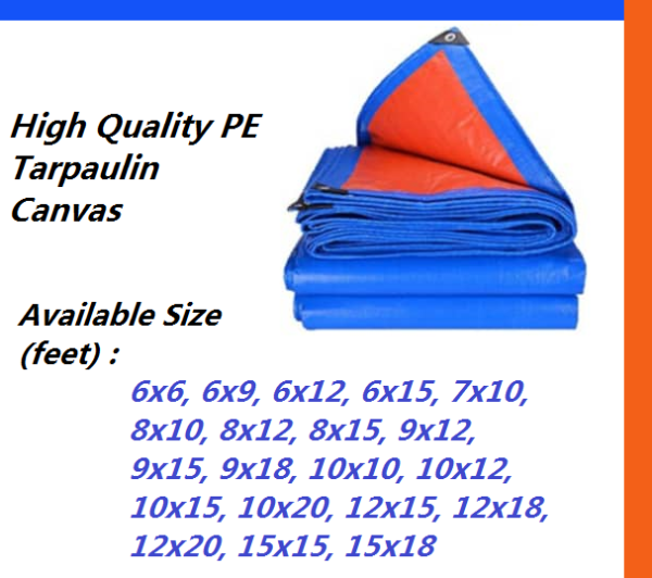 Blue Orange Waterproof Canvas Tarpaulin Sheet Canopy Camping Kanvas Khemah Pasar Malam Penutup