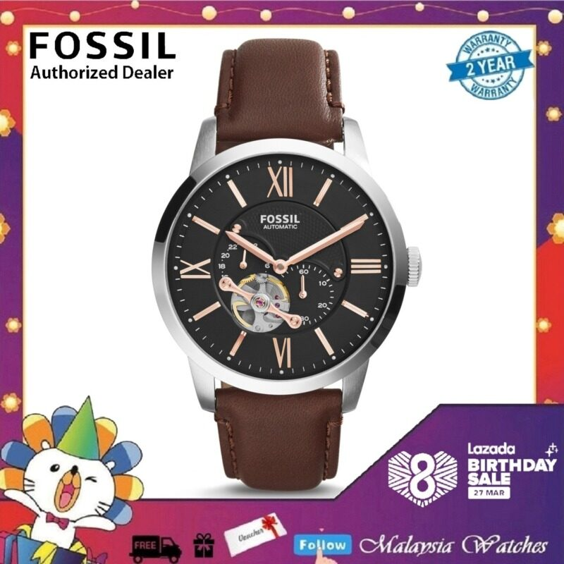 (OFFICIAL WARRANTY) Fossil Mens ME3061 Townsman Mechanical Dark Brown Leather Watch (2 Years Fossil Warranty) Malaysia