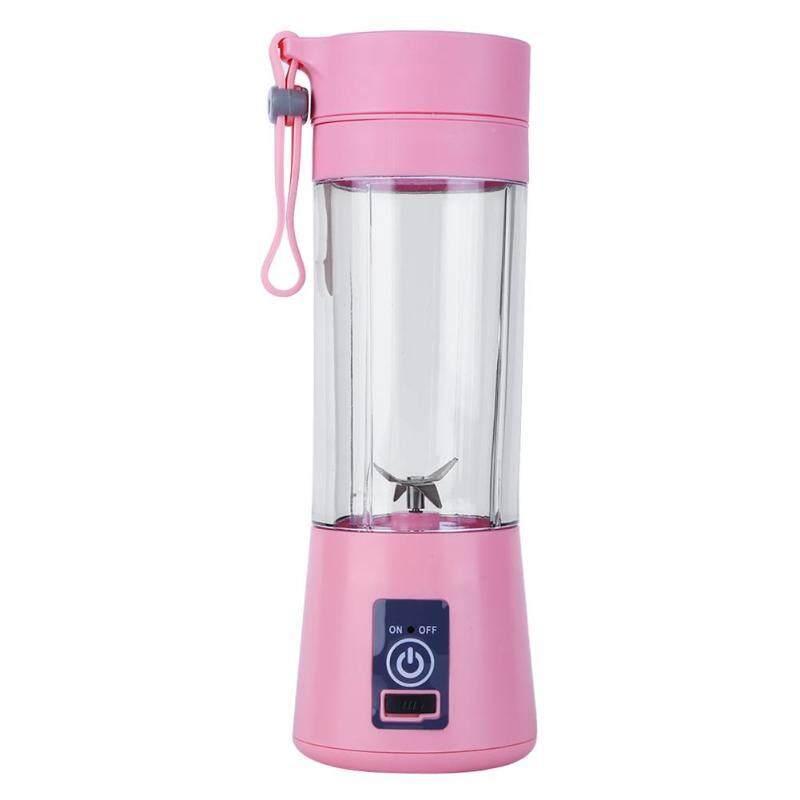 380Ml Usb Rechargeable Blender Mixer 6 Blades Juicer Bottle Cup Juice Citrus Lemon Vegetables Fruit Smoothie Squeezers Reamers Pink