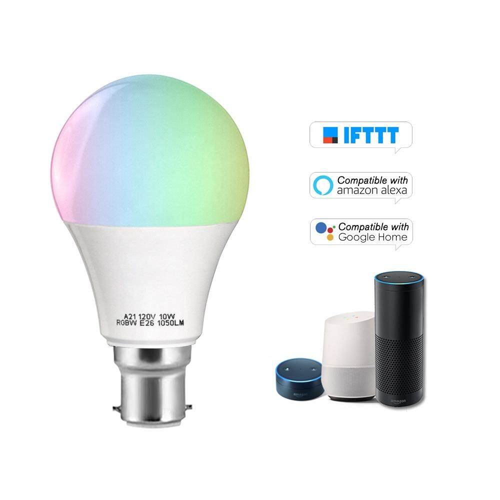 V5 Smart WIFI LE-D Bulb RGB+W LE-D Bulb 11W B22 Dimmable Light Phone Remote Control Group Control Compatible with Alexa Goog-le Home Tmall Genie Voice Control Light Bulb