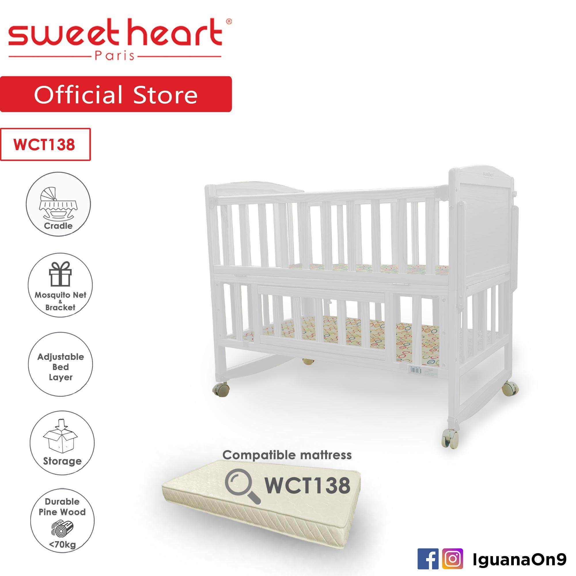 Sweet Heart Paris Wct138 Multi Functional Baby Wooden Cot With Height Adjustable Layer