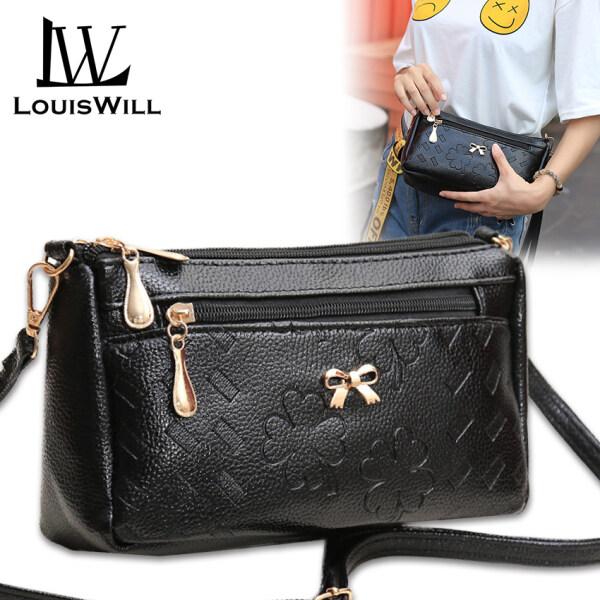 Túi đeo chéo nữ chất liệu da PU, họa tiết in hình cỏ bốn lá, đính nơ, nhiều ngăn, kiểu dáng Hàn Quốc tiện lợi, đơn giản, sang trọng