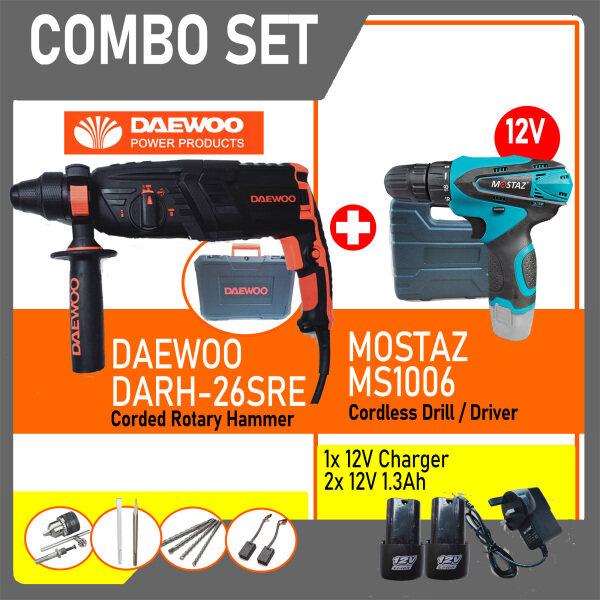 DAEWOO DARH-26SRE ELECTRIC ROTARY HAMMER 820W C/W MOSTAZ CORDLESS DRILL MS1006-2B +2 x  12V BATTERY + 1x CHARGER