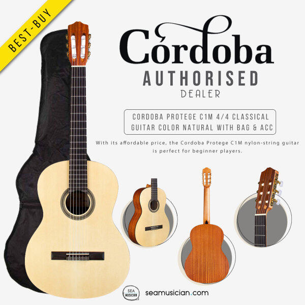 CORDOBA PROTEGE C1M FULL SIZED 4/4 CLASSICAL GUITAR COLOR NATURAL WITH BAG & ACCESSORIES ( ENTRY LEVEL CLASSICAL GTR/ GTR FOR BEGINNER/ SEAMUSICIAN) Malaysia