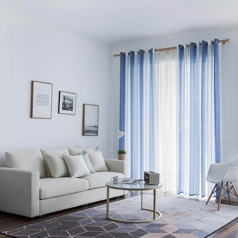 KEAJRY100*250/140*260 Large Stripe Pure Color Sheer Curtains