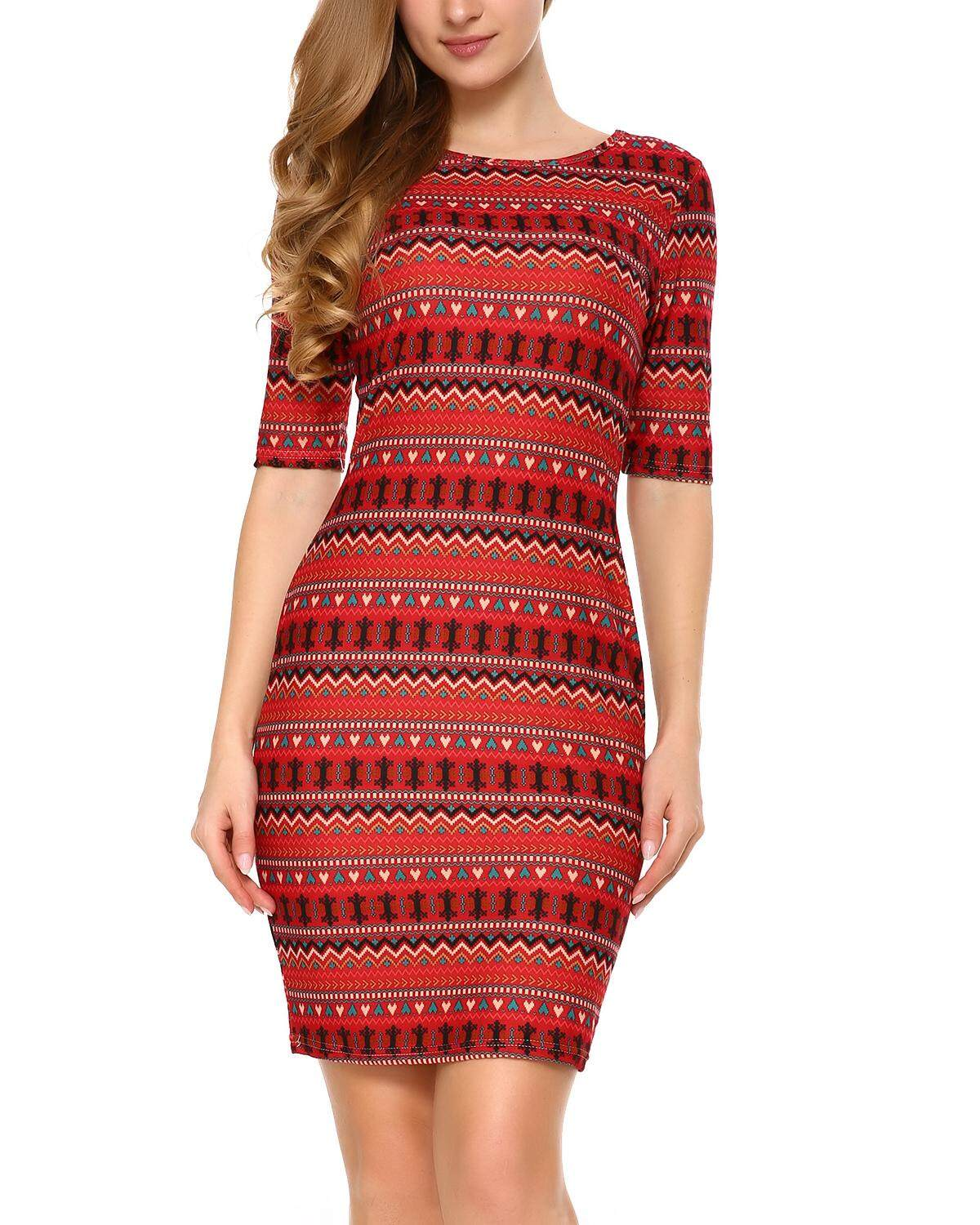 e5228a1d2f5  HOT SALE  Mixfeer Women s Vintage Print Open Back Bodycon Dress