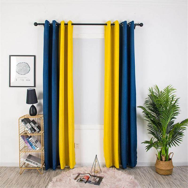 KL Fashionable Curtains Two-color Linen Curtains Thermal Insulation Polyester Spliced Curtains with Grommet for Living Room Kitchen Bedroom