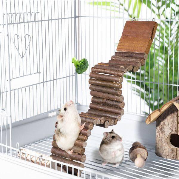 Cầu Thang Cho Thú Cưng Vẹt Hamster Thang Đứng Cho Chim, Cầu Gỗ Treo Đồ Chơi Xích Đu Leo Núi Pha Trộn Cho Hamster, Đồ Chơi Nhai
