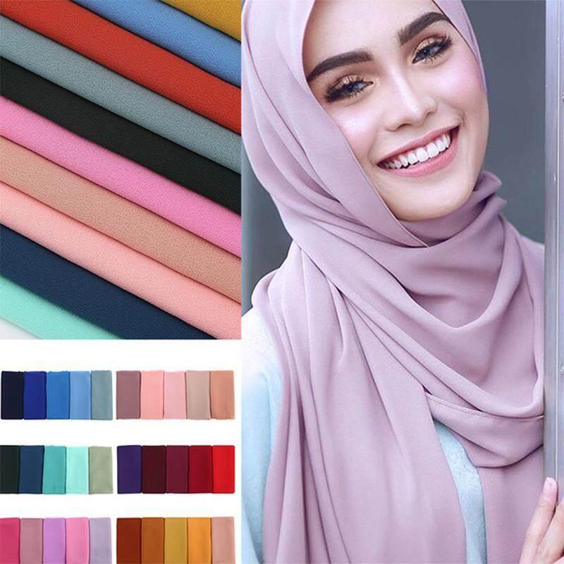 9341e46a8b Women Scarf Chiffon Solid Color Oversized Long Wide Elegant Turban Muslim  Hijab Headband Shawl