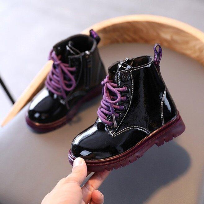[Happlyingbaby] Da Cho Trẻ Em Khởi Động Giày Con Gái Xuân Thu Chất Liệu Da PU Trẻ Em Khởi Động Thời Trang Bé Gái Mới Biết Đi Khởi Động Bốt Mùa Đông Ấm Trẻ Em Giày giá rẻ