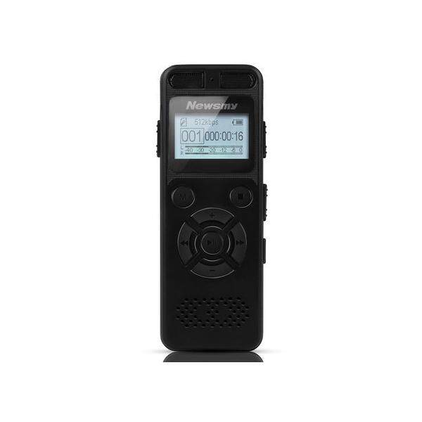 Newsmy RV29 8GB 1536KBPS PCM Dual Microphone 138 Hour A to B Repeat Voice Recorder - Black