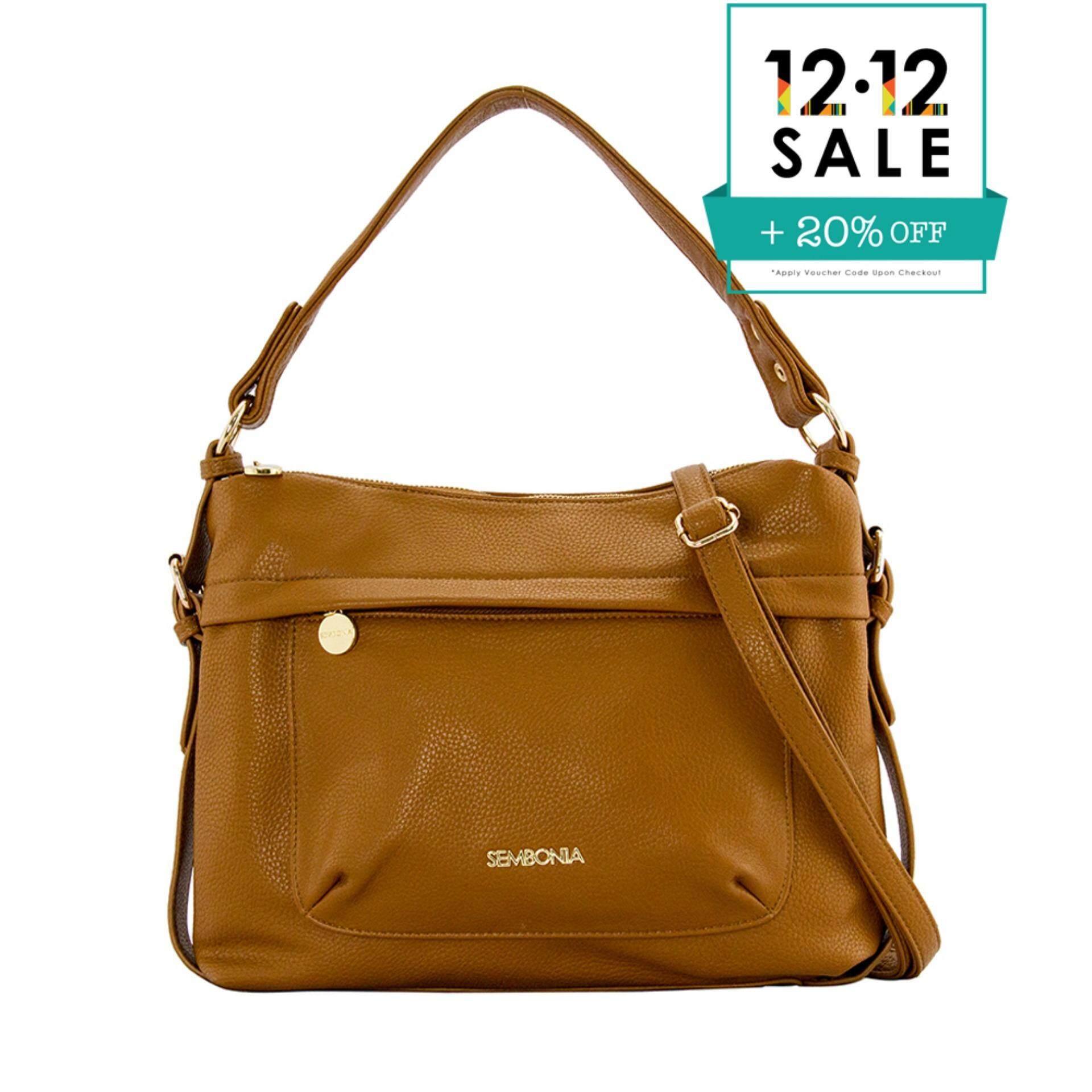 Sembonia Synthetic Leather Hobo Bag Brown