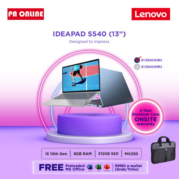 Lenovo Ideapad S540-13IML 81XA003GMJ -Intel Core i5-1021u /8GB RAM /512GB SSD /13.3 QHD IPS /Win 10 / Ms office /2 years Malaysia