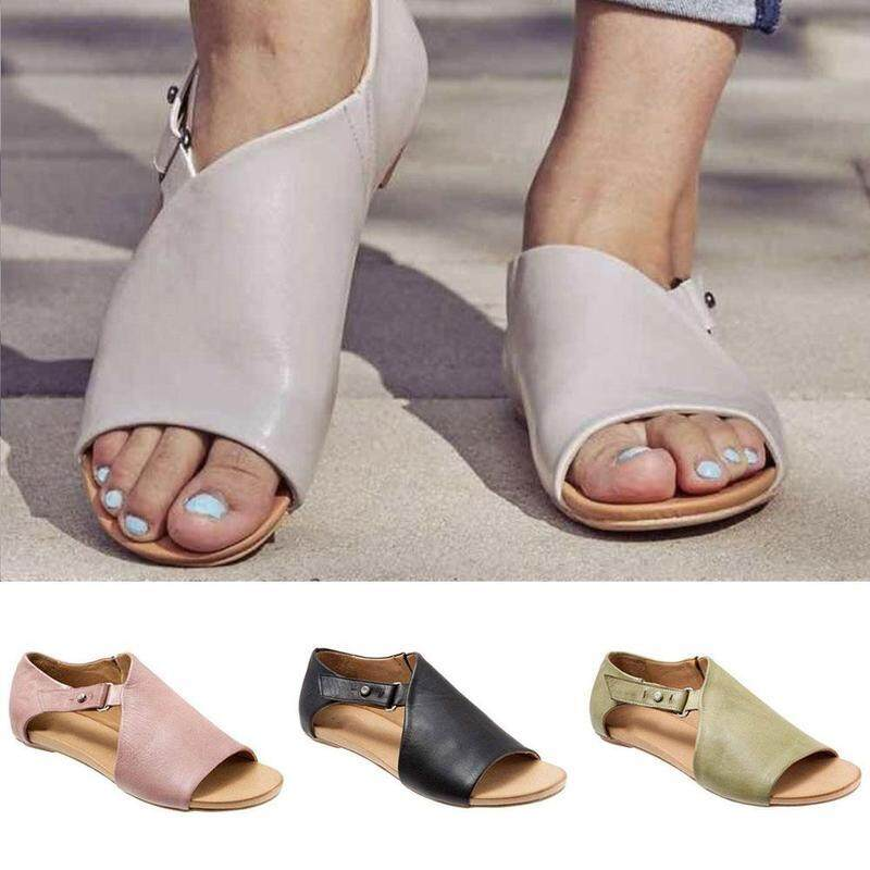 5b43af575065 2019 new fashion casual sandals Europe and America buckle flat bottom  ladies sandals Flat gladiator sandals