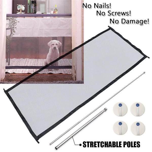 Cổng ma thuật 182*72cm di động gấp bảo vệ an toàn lưới vải ma thuật dệt cho Pet Dog Cat (Đen)-