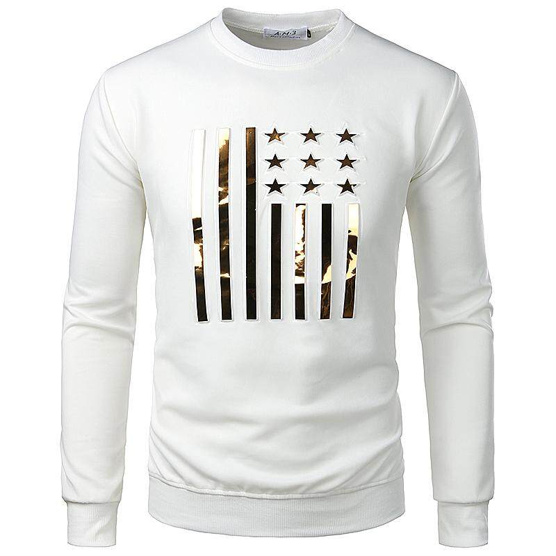 00895128b166 Casual Men T Shirt Five-pointed star O neck Casual Tees Tops Long sleeve T
