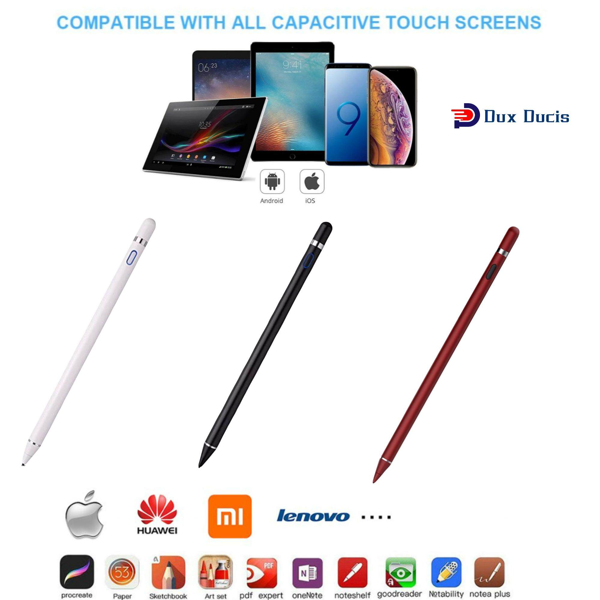 Dux Ducis Generic Pencil Tablets Touch Stylus Pen for Apple iPad Android  Pad (Whhite Black Red)【Enough Stocks】