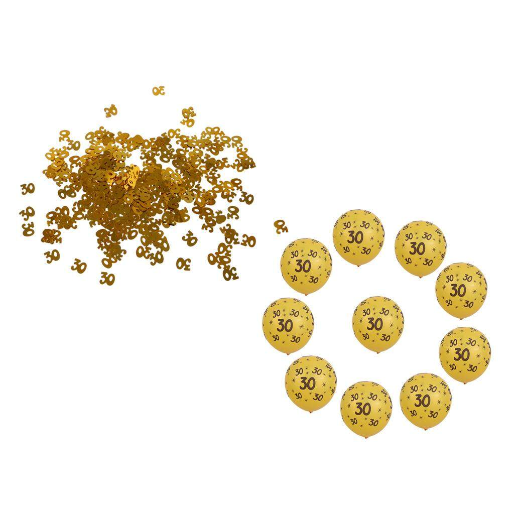 Loviver 10 Gold Latex Balloons&Glitter Number 30 Confetti 30th Birthday Party Decor