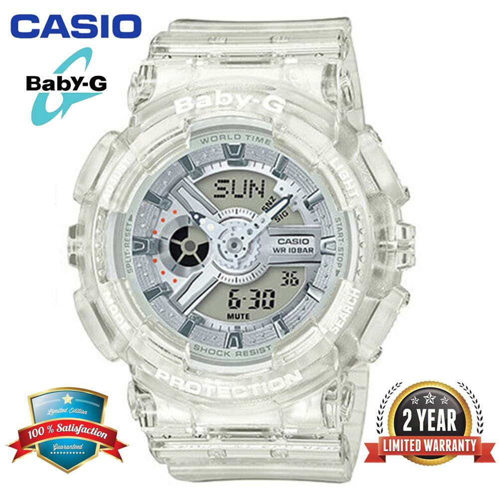 (Ready Stock)Original Casio Baby G_BA-110CR-7A Women Sport Digital Watch Duo W/Time 200M Water Resistant Shockproof and Waterproof World Time LED Light Girl Wist Sports Watches with 2 Year Warranty BA110/BA-110 Transparan Malaysia