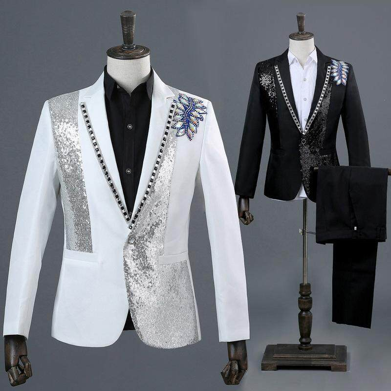 (jacket+pants+bow Tie) Men Silver Sequin 3 Piece Suit Set Luxury Diamond Embroidery Male White Suits Stage Party Singer Costumes By Yangs House.