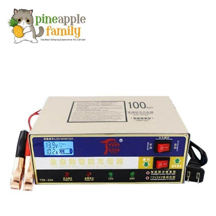 Tsd-20a 12v/24v Dual Intelligent Battery Charger Recovery For Car Motorcycle Lorry Boat Battery By Pineapple Family.