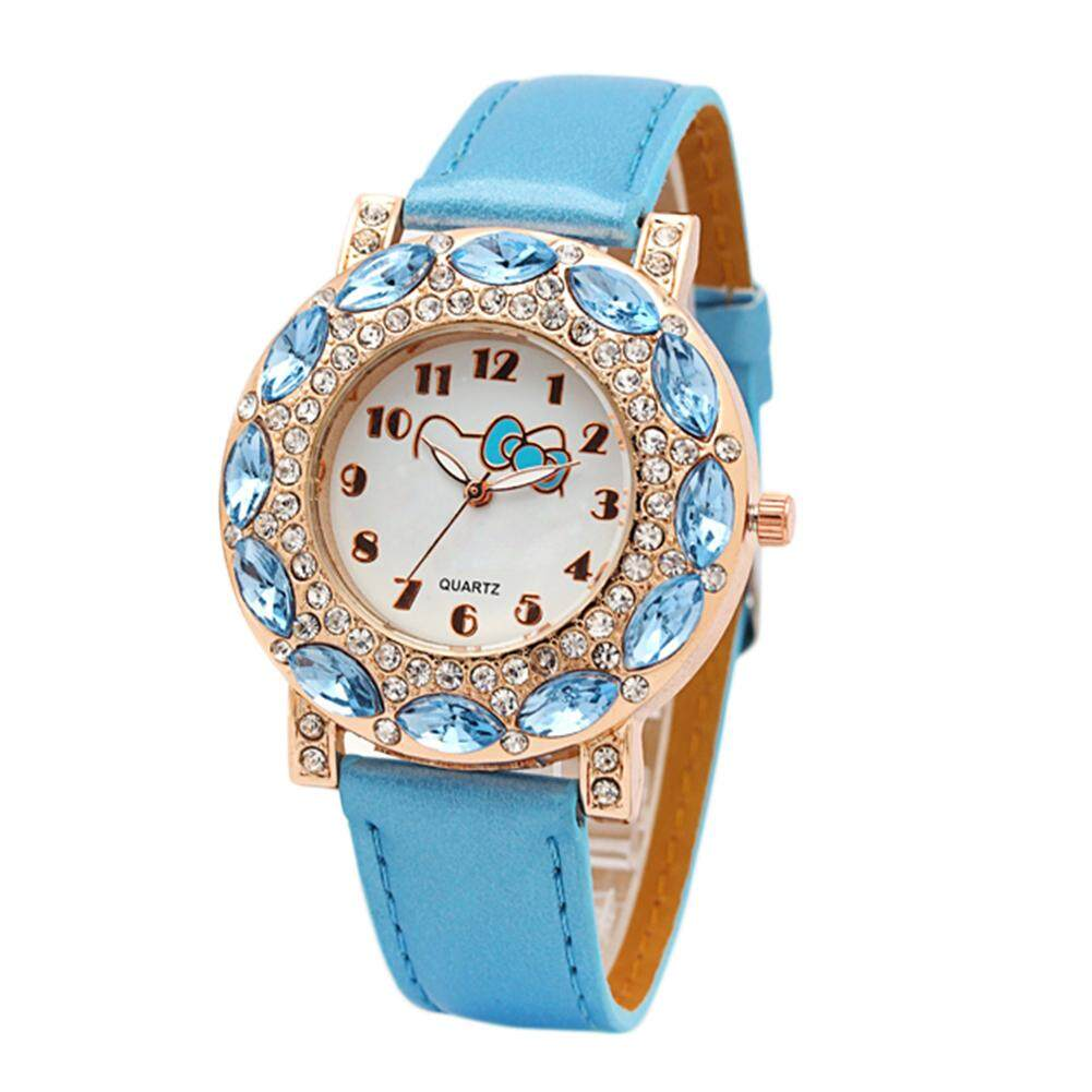 Girls Fashionable Cute Cartoon Watch with Lovely Hello Kitty Pattern Childrens Quartz Wristwatches Inlaid with Crystal Rhinestone Malaysia